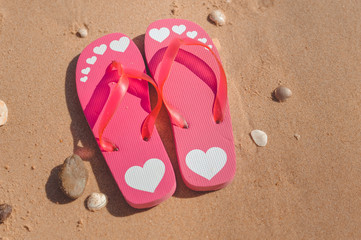 Tropical holiday of flipflops on sandy ocean beach vacation concept