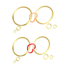 vector gold rings combined a heart of gold