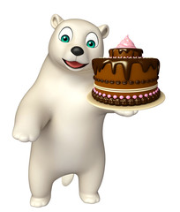 Polar bear cartoon character with cake