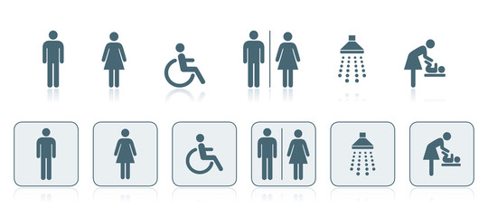 Sanitär-Symbole, WC, Rollstuhlfahrer, Wickelraum