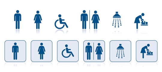 WC-Symbole in blau, Hinweisschilder, icons