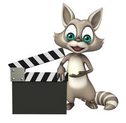 fun Raccoon cartoon character with clapboard