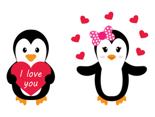 penguin girl and boy with heart