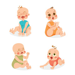 Set of vector illustrations of cute babies. Emotions
