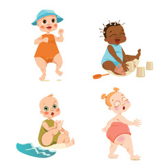 Set of vector illustrations of cute babies on the beach