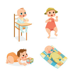 Set of vector illustrations of cute babies on a white background