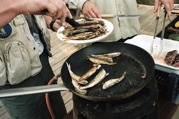 Men holding plate of fried fish by stove, midsection