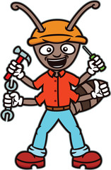 Ant Worker with Working Tools Cartoon Illustration