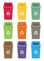 Waste sorting garbage bin set vector. Waste management