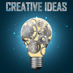 Light bulb with gears inside, vector illustration.