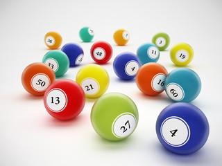 Bingo balls with generic numbers. 3D illustration