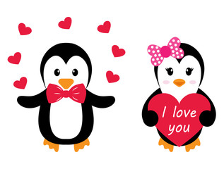 penguin girl and boy with heart set