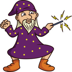 Wizard with Magic Wand Cartoon