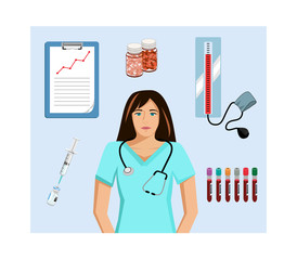 Vector image of a female nurse/doctor with medical related objects