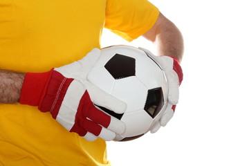 Lederball in den Händen