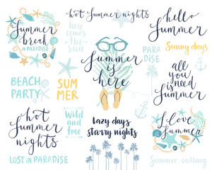 Wall Mural - Summer Lettering Design Set - hand drawn