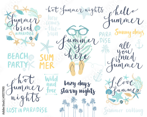 Wall mural Summer Lettering Design Set - hand drawn