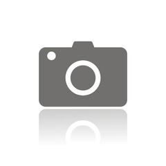 Compact camera icon with reflection on white background