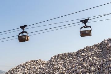 Limestone mining and transportation via cable car.