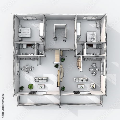 3d Interior Freehand Sketch Drawing Plan View Of Furnished Home Apartment With Balcony Room