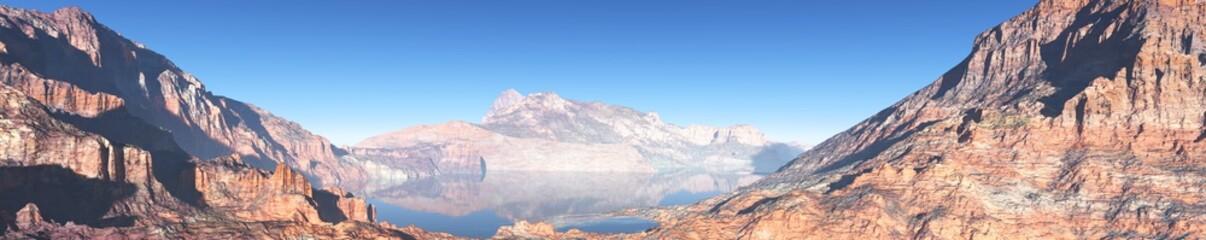 mountain lake panorama banner