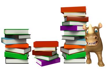 cute Rhino cartoon character with books