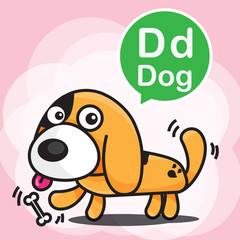 D Dog color cartoon and alphabet for children to learning vector