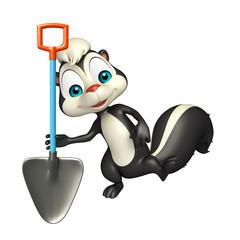 Skunk cartoon character with shovel