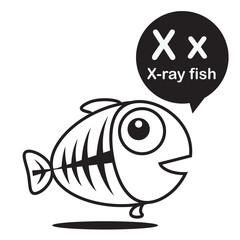 X X-ray fish cartoon and alphabet for children to learning and c