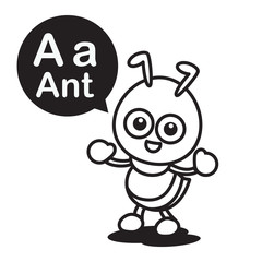 A ant cartoon and alphabet for children to learning and coloring