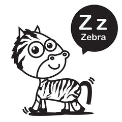 Z Zebra cartoon and alphabet for children to learning and colori