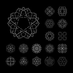 The circular geometric patterns. Black and white vector set. Magic, mandala, philosophy, esoteric, space, occult. The symbols and elements.