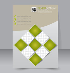 Abstract flyer design background. Brochure template. To be used for magazine cover, business mockup, education, presentation, report. Green color.