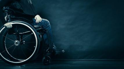 Woman invalid girl sitting on wheelchair