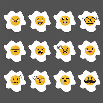Smilies emoji emoticon face in Sunny side up egg with a lot of variation