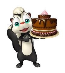 fun Skunk cartoon character with cake