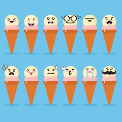 Smilies emoji emoticon face in ice cream with a lot of variation