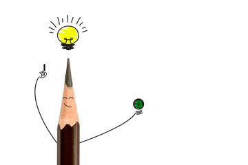 pencil smiling and light bulb on white, The concept have idea is