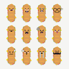 Smilies emoji emoticon face in bread with a lot of variation