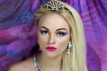 Portrait of beautiful young sexy lady, model, woman, actress, princess. Perfect makeup, long eyelashes, clean soft skin, gentle pink lips. Image can be used for advertising means of skin care,cosmetic