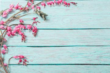 Bleeding heart flowers on wooden background