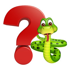 cute Snake cartoon character  with question sign