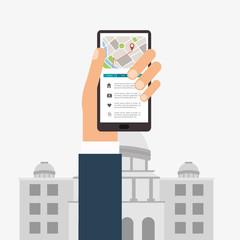 GPS design. Building icon. Isolated illustration, editable vector