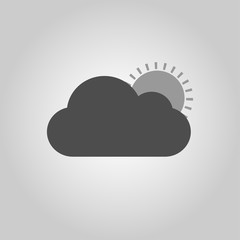 Cloud with sun, the icon for the weather pattern. Vector illustration.