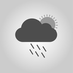 Cloud with rain and sun, the icon for the weather pattern. Vector illustration.