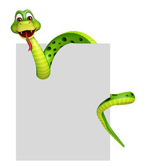 fun Snake cartoon character with board