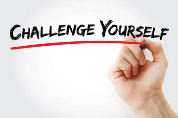 Hand writing Challenge Yourself with marker, business concept