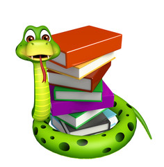 cute Snake cartoon character with book stack