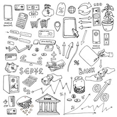Big hand drawn elements collection for infographic on the subject of money, budget savings, etc. Infographics elements set of the mobile bank or online store