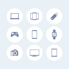 Gadgets icons isolated on white (laptop, tablet, camera, tv, smart watch), vector illustration